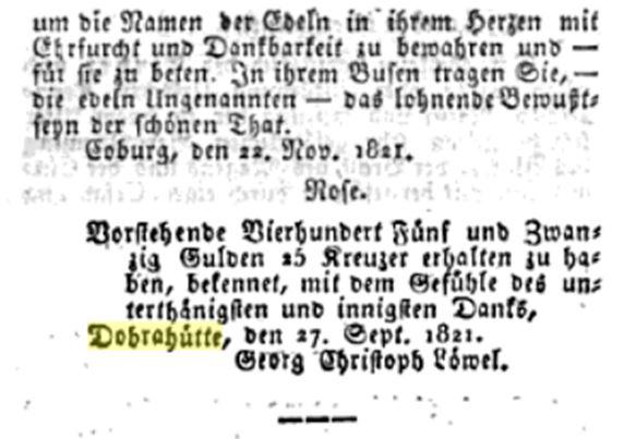 Collecte zum Abbrand der Doberhütte 1821 2