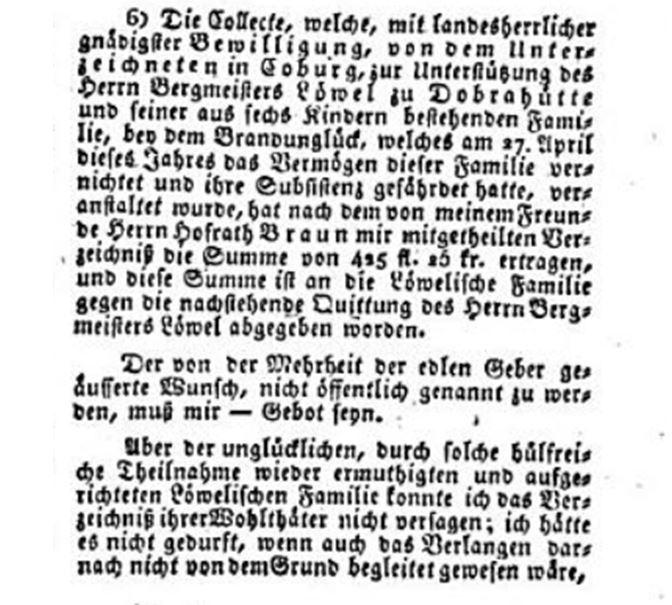 Collecte zum Abbrand der Doberhütte 1821