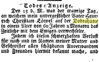 Todesanzeige Heinrich Christian Löwel